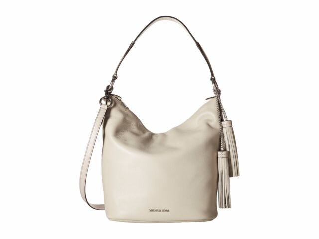 1b5f5753694f Michael Kors Elana Large Pebble Leather Shoulder Tote Bag (Cement/Silver)