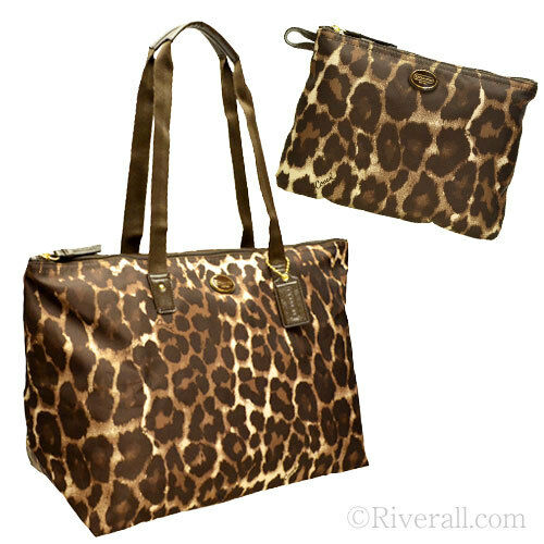 97fd28581c72 ... authentic coach xl nylon packable weekend tote 77316 duffel travel  ocelot overnight 19d5e f9c3f