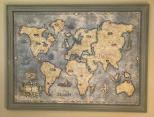Risk Giant Wall Edition Magnetic War Game Stained Framed Board Artwork Art Map