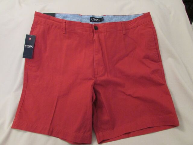 NWT Mens Chaps 100/% Cotton Flat Front Washed Chino Twill Shorts $60 MSRP