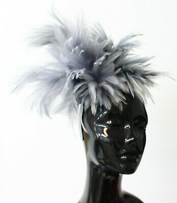 Caprilite Fashion Grey and Black Pill Box Hat Fascinator Hatinator Clip Ascot Races Weddings