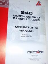 Mustang Model 940 Skid Steer Loader Owner Operator Manual Amp Parts Manual