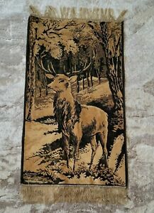 Vintage Deer Stag Buck Tapestry Wall Hanging Outdoorsman Cabin Man Cave 23.5 x43