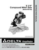 Delta Ms150 8 1/4 Compund Miter Saw Instruction Manual