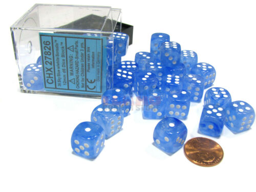 Sky Blue with White Pips Borealis 12mm D6 Chessex Dice Block 36 Dice