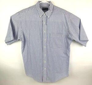 Lands-End-Mens-LT-16-16-5-Camp-Shirt-Button-Front-SS-Blue-Striped-Seersucker