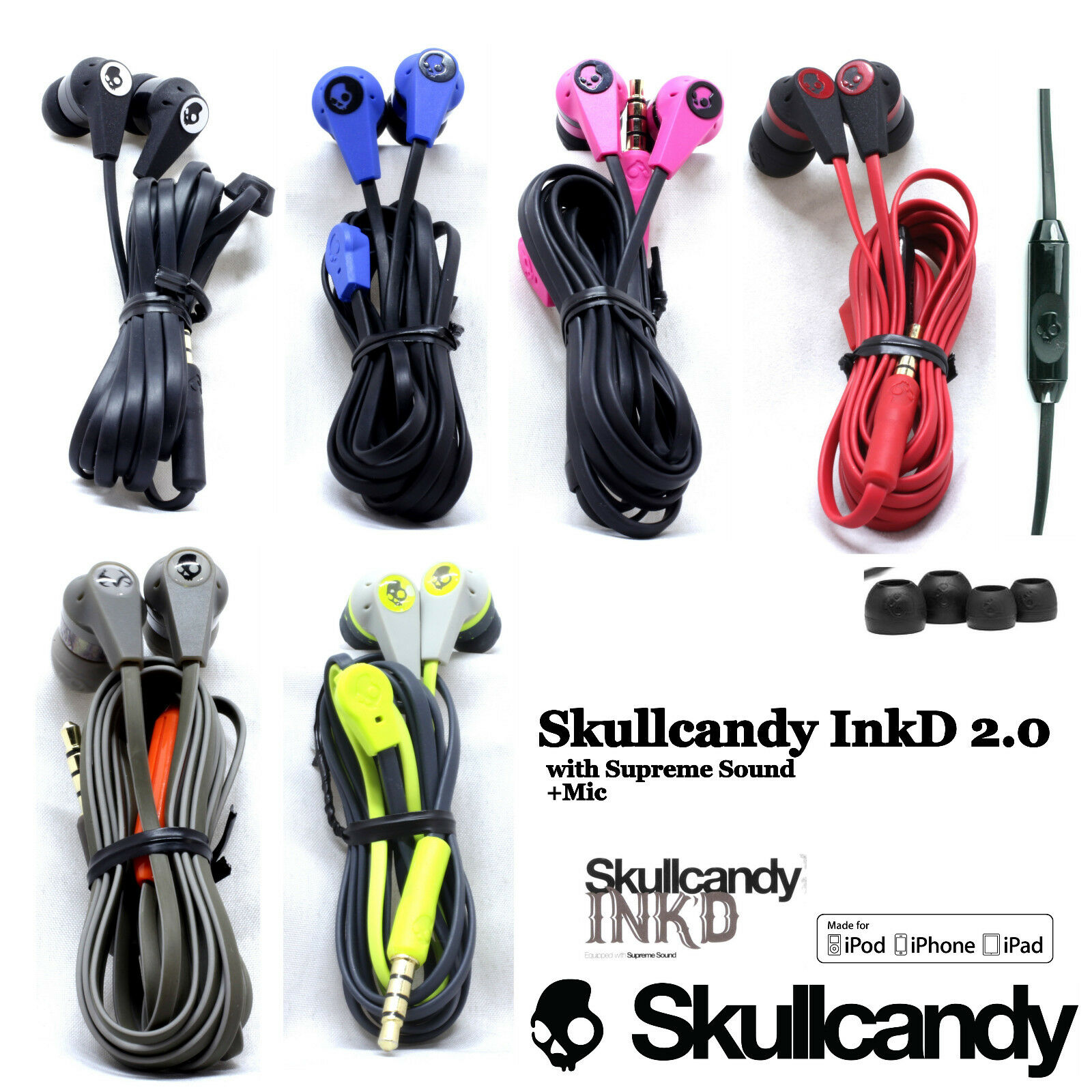 OEM Skullcandy Ink'd 2.0 Earbuds Headphone Wired W/Mic Remote Black Red Blue 1