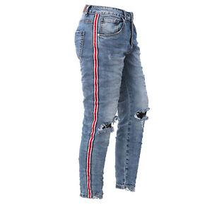 Skinny Strappati Uomo Slim Banda Elasticizzati Pantaloni Jeans xwPSUHn4qH