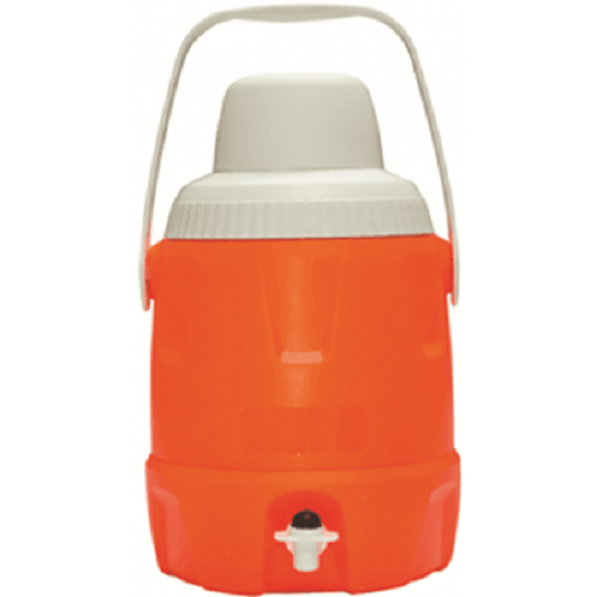 Ebony COOLER JUG WITH TAP 5L Smooth Handle, Removable Drinking Cup HI VIS Orange