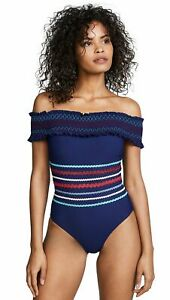 Red-Carter-Women-039-s-Smocked-Off-The-Shoulder-Maillot-Bathing-Swim-Suit-Small