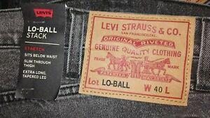 Levis-Lo-Ball-Stack-Slim-Tapered-Jeans-Herren-40-x-35-grau-Denim-Stretch