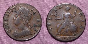 1743-KING-GEORGE-II-COPPER-HALFPENNY-Nice-Grade-Coin