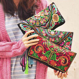 US-Handmade-Women-Boho-Ethnic-Embroidered-Wristlet-Clutch-Bag-Purse-Wallet-Gift