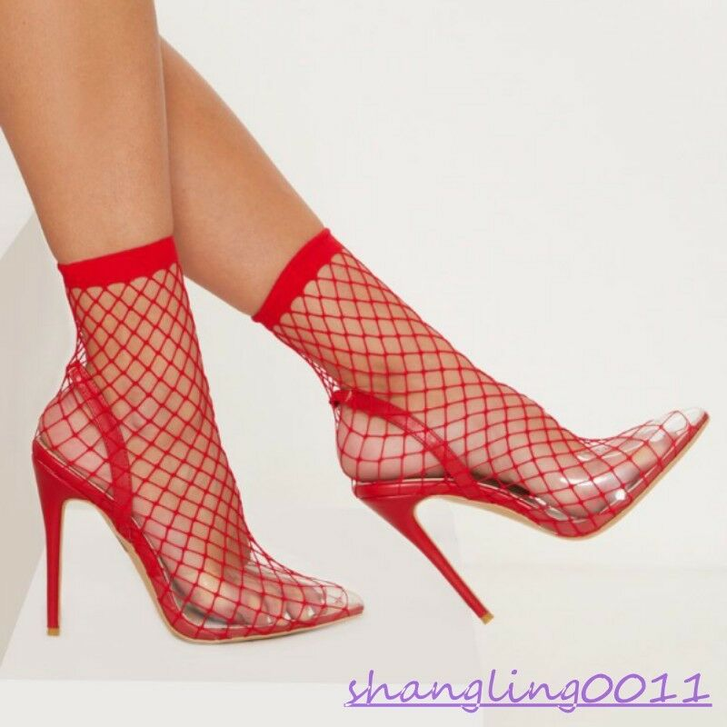 Para mujeres Zapatos Stilettos Tacón Alto Puntera Puntiaguda Hollow Out Sexy Tirar botas al tobillo