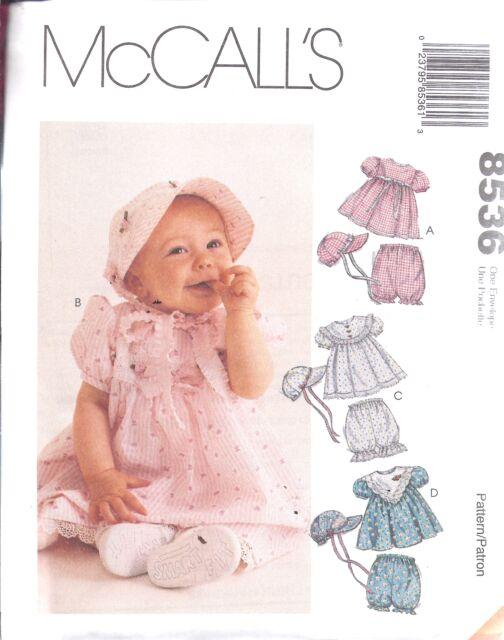 8536 Uncut Vintage McCalls Muster Kleinkinder Baby Kleid Hut Höschen ...