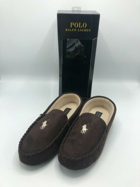 5edc2ee2 POLO Ralph Lauren Mens DEZI II Chocolate Brown Slippers Moccasin UK9 US10  EU43