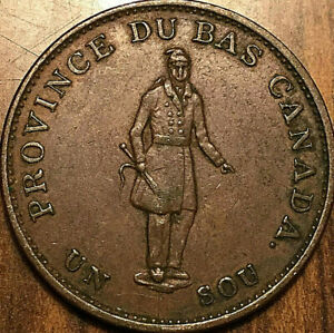 1837-LOWER-CANADA-HALFPENNY-BANK-TOKEN-City-bank-Excellent-example