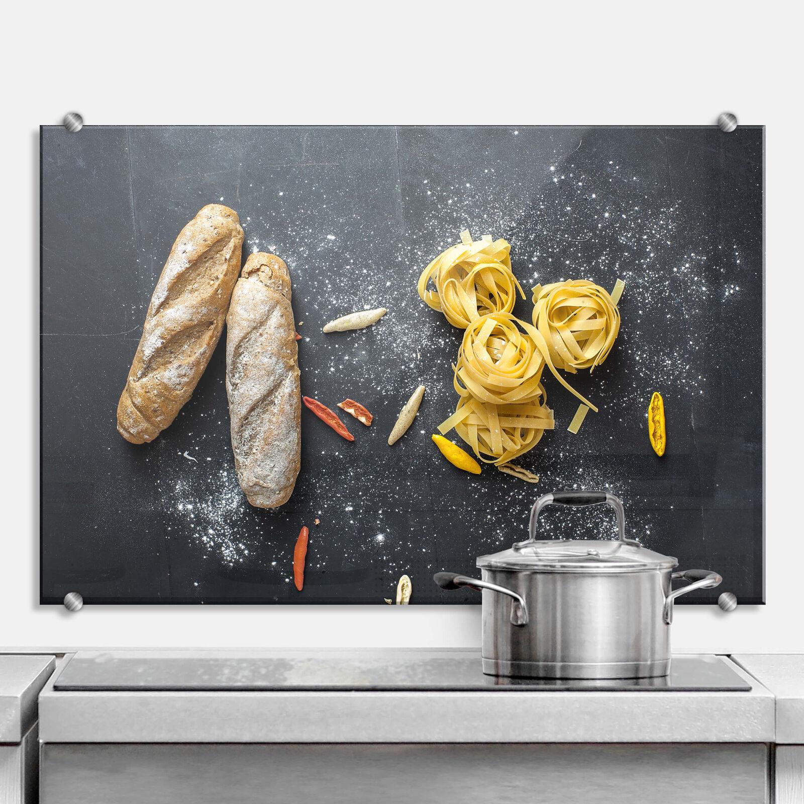 Spritzschutz Bread and Pasta KÜCHENRÜCKWAND ESG SICHERHEITSGLAS WAND DEKO KÜCHE