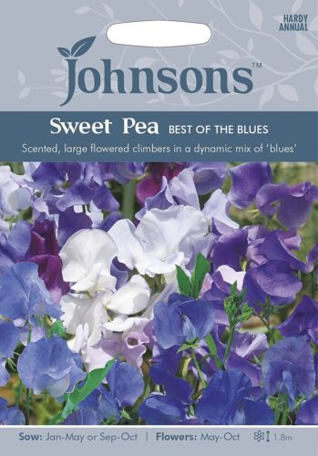 Ideal for cutting! Johnsons Seeds Sweet Pea Best of the Blues Seed