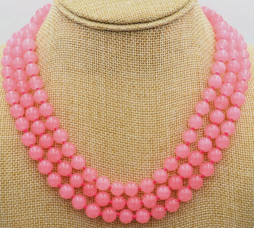 """New Fashion 3 rangées de 8 mm rose jade perles de pierres précieuses Bijoux Collier 17-19 /""""AAA"""