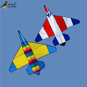 NEW-1-2m-48In-Plane-Kite-Double-Color-Fighter-Outdoor-fun-Sports-Children-039-s-toys