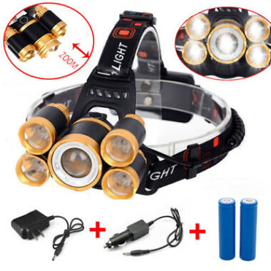 5-LED Zoom LED Rechargeable Headlamp Head Light Torch Charger