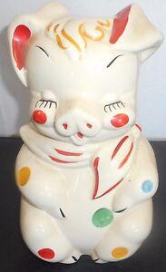 20 39 S 30 39 S Piggy White Red Blue Yellow Clown Cookie Jar 12