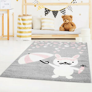 Details zu Kinderteppich Bubble mit niedlichen Hasen, Herzen in Grau, Rosa  für Kinderzimmer