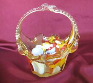 VINTAGE-ITALIAN-MURANO-AMBER-COLOR-CRYSTAL-GLASS-DECORATIVE-CANDY-BOWL-BASKET