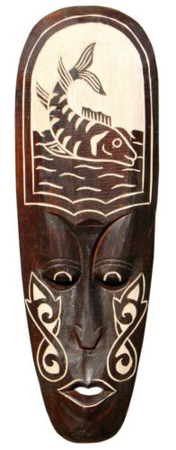 Schöne 50 cm Wand Maske Fisch Fish Tribal Maori Holz Tier Afrika Maske 82