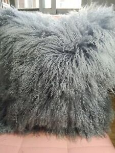 Handmade-Mongolian-Fur-16x16-034-40X40cm-Square-Grey-Pillow-Cushion-amp-fabric-back