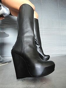 Black Wedges Boots Mori Heels Italy Stiefel Knee Stivali Leather High 37 Nero fwF5w