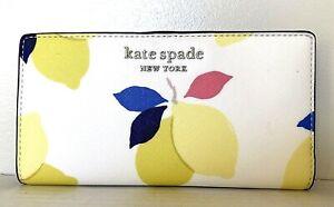 New-Kate-Spade-Cameron-Lemon-Zest-Large-Slim-Bifold-Leather-wallet-White-multi