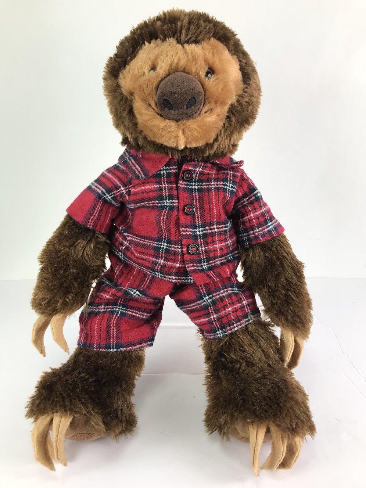 Build A Bear marrone Sloth rosso Flannel Pjs Plush Stuffed Animal 18  BAB HTF Clean