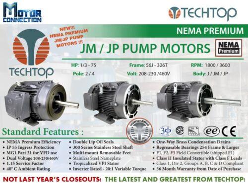 56J 3600 RPM PUMP NEMA Premium 3//4 HP 3-Phase Electric Motor