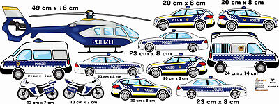 Wandtattoo Polizei Kinderzimmer Polizeiautos Aufkleber Autos Kinderzimmer Baby Ebay