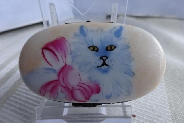 Limoges France Rochard Porcelain Kitty Trinket Box