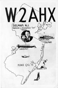 W2AHX-Belmar-NJ-Radio-Station-Marvin-C-Polhemus-Vintage-RPPC-1956-Postcard