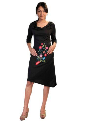 Damen Mit Viertel Ärmel Front Stickerei Kleid HazfOpnH