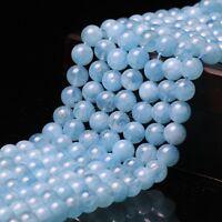 "Genuine 8mm Natural Aquamarine Round Gemstone Loose Beads 15"" Strand AAA"