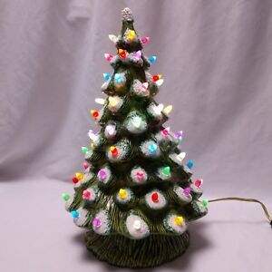 Vintage Ceramic Christmas Tree Snow Flocked Lamp Base 70s ...