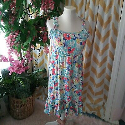 Chaps Girls Size 14 Pink Floral Fit and Flare Satin Tie Waist Dress NEW