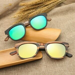 Square Wood Frame Metal Sunglasses Polarized Mens Women's Glasses Retro Eyeware