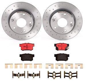 Brembo-Rear-Brake-Kit-Ceramic-Pads-Drilled-Disc-Rotors-For-Acura-ILX-Honda-Civic
