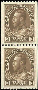 Mint-H-NH-Canada-1921-Pair-3c-Coil-F-VF-Scott-134-KGV-Admiral-Stamps