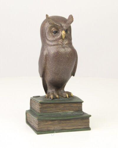 Bronze Figur Skulptur Weise Eule Uhu Vogel Buch Bücher Natur Tier Marmorsockel