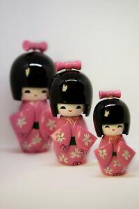 Set Of 3 Japanese Girls Kokeshi Wooden Pattern Kimono Dolls