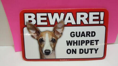 BEWARE GUARD DOG SIGN,SCANDICAL,ST 889 WHIPPET LAMINATED,FREE SHIP