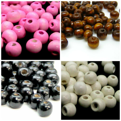 9mm Round Rondelle Wooden Beads Jewellery Craft Hobbies Kids PICK COLOUR