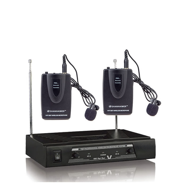 VHF Dual Channel Clip on Lapel Lavalier Microphone Wireless Condenser Mic System